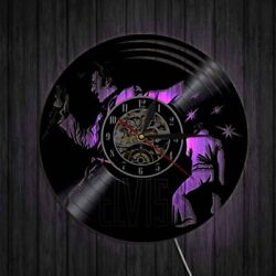Popular Singer Elvis Presley Silhouette Clock Vinyl Wall Clock with 7 Color LED