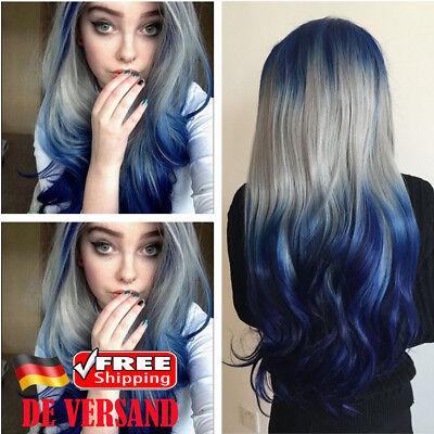 mbre Mode Perücke Lang Gelockt Cosplay Party Perücken Wig (Blaue Perücke)
