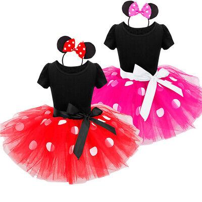 Kinder Mädchen Minnie Mouse Maus Kostüm Kleid Mit Ohren Hochzeit Karneval - Minnie Kostüm Kinder