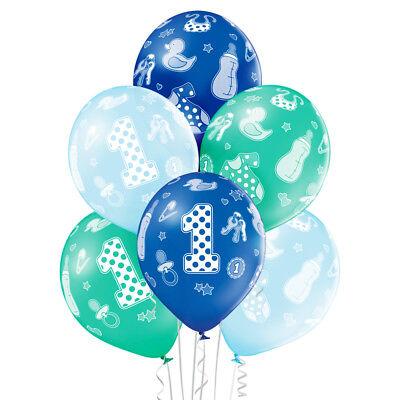Premium Ballons 6-er Set 1. Geburtstag Junge 30 cm Luftballon 1st Birthday Boy ()