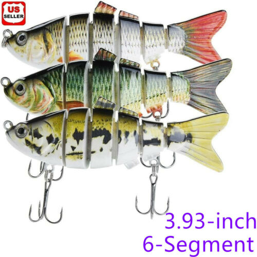 6-Segment Multi Jointed Fishing Lures Fishing Bait Crankbait Hooks Swimbait US Baits & Lures