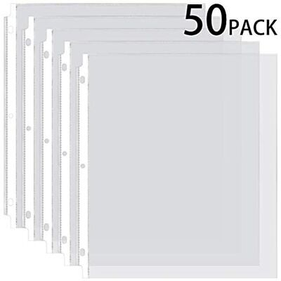 Ktrio Sheet Protectors 8.5 X 11 Inches Clear Page For 3 Ring Binder, Plastic Top