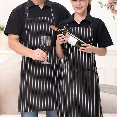 Durable Adult Striped Long Apron With Pocket Catering Cook Chef Waiter BBQ Bar