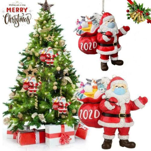 Santa Wearing Mask Christmas Tree Ornaments Hanging Decor Creative Gift Hot 2020 Holiday & Seasonal Décor