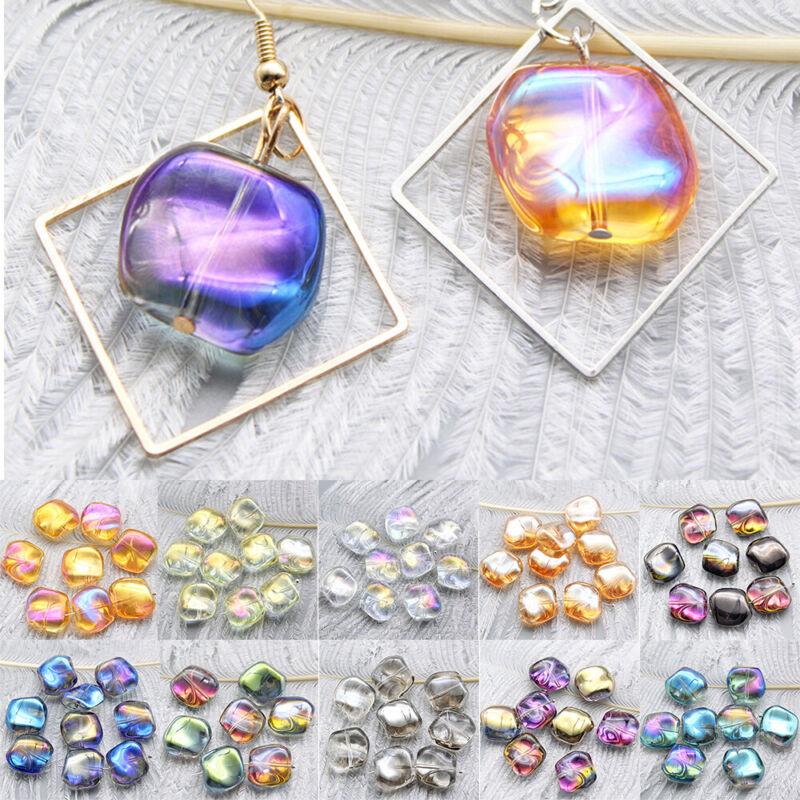 10pcs Colorful Irregular Glass Crystal Beads Jewelry Pendant  Earring DIY Making