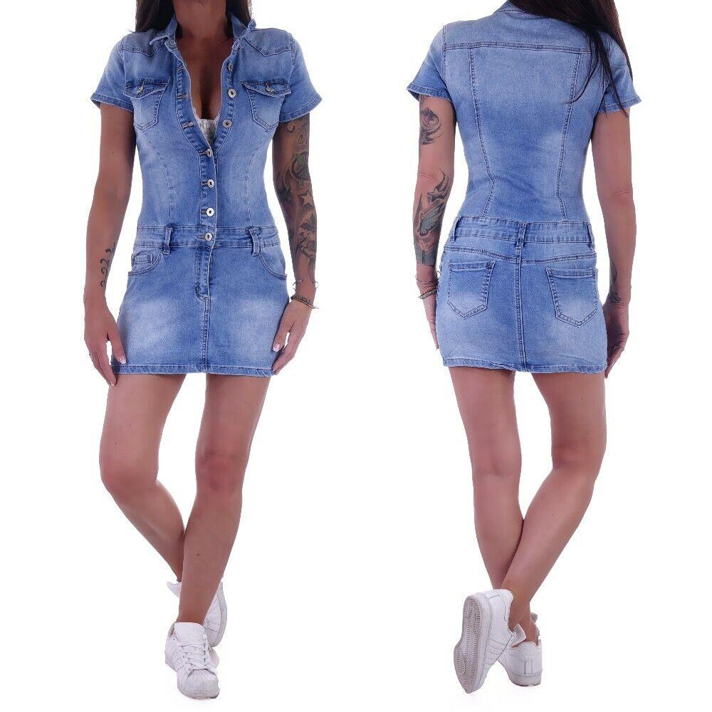 Damen Jeans Minikleid Overall Jumpsuit Kleid Sommer Sexy Blau Knöpfe Kurz W21