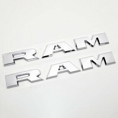 "2x 19-20 Dodge Ram 1500 Chrome ""RAM"" Letter Emblem Nameplate Mopar 68302528AB"