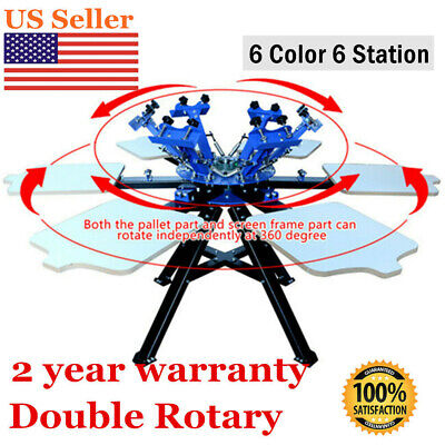 6 Color 6 Station Double Rotary Screen Printing Press Machine T Shirt Printer