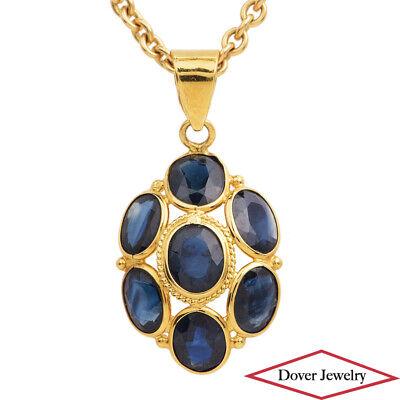 Estate 2.50ct Blue Sapphire 18K Gold Flower Design Pendant NR