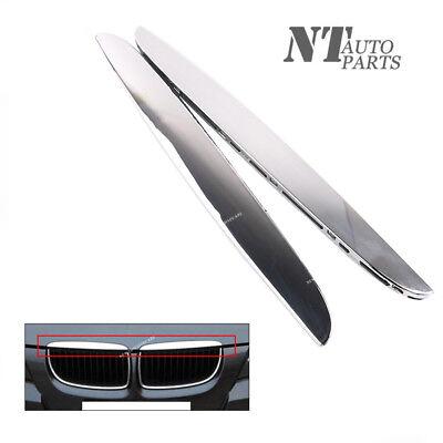 Qty2 R+L Hood Molding Chrome Trims Above Kidney Grille for BMW E90 E91 325i 330i