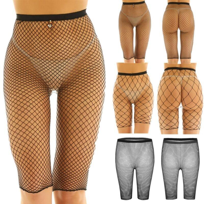 Womens Fishnet Cycling Short Hot Pant Ladies Full Mesh Insert Cycling Short