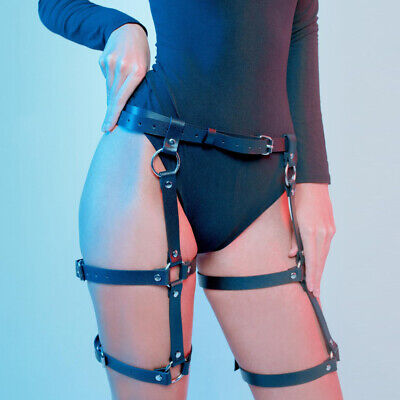 15cd912d0d268 Women PU Leather Harness Belt BDSM Waist To Leg Bondage Strap Garter Body  Belt