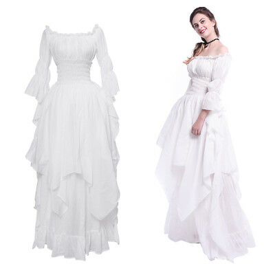 Victorian Medieval Renaissance Gothic White Long Court Dress Princess Ball Gown](White Medieval Gown)