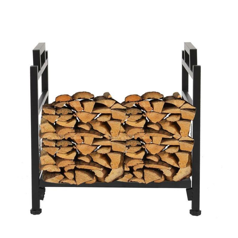 "18"" Indoor/Outdoor Firewood Log Rack - Steel Wood Storage Holder Rack Storage"