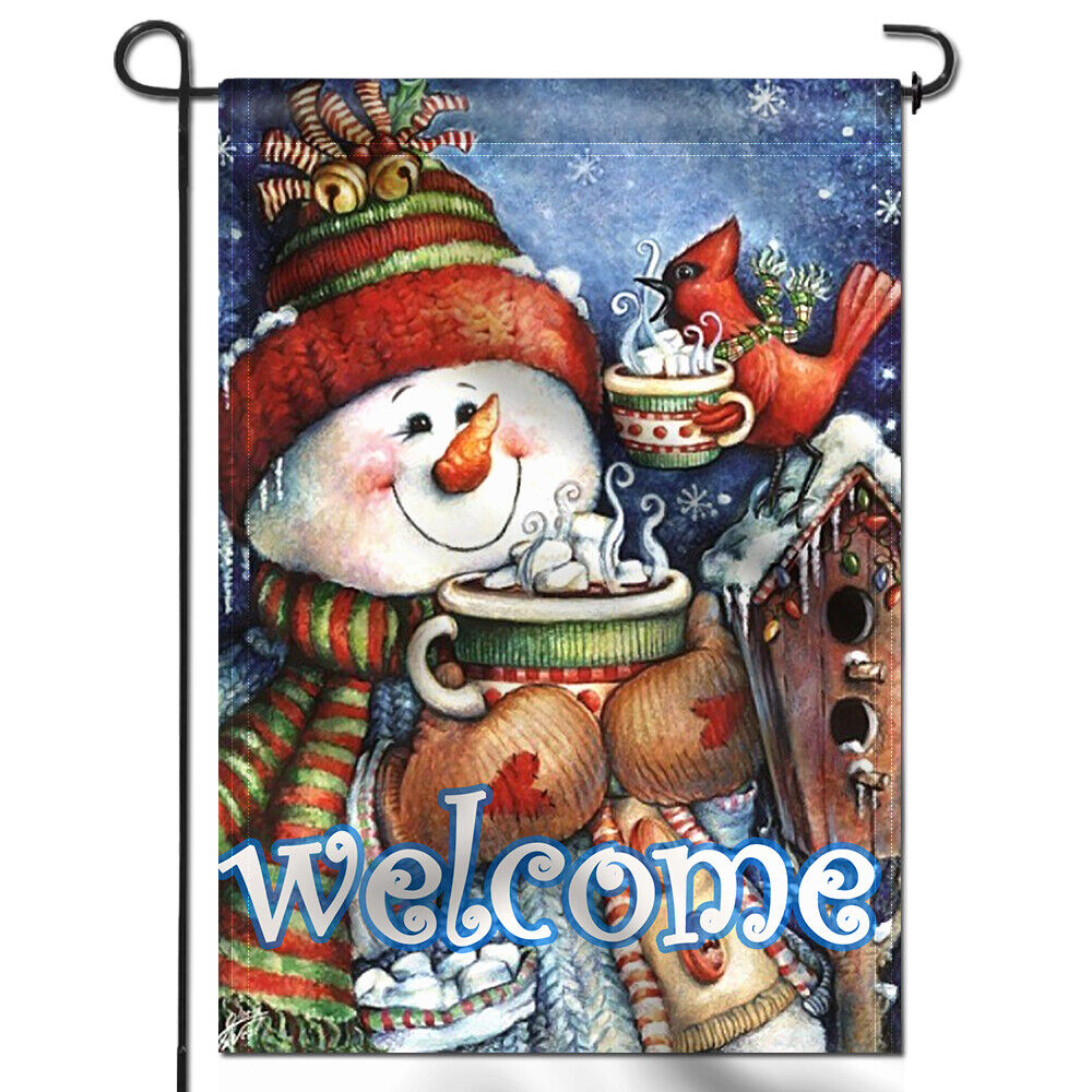 welcome winter garden flag snowman bird snowflake
