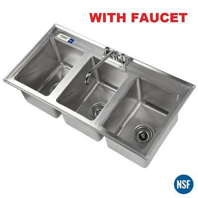 10 X 14 X 10 Stainless Steel Three Compartment Drop-in Sink With 10 Faucet