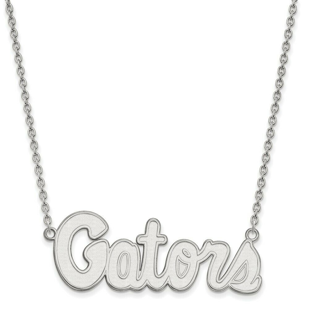 925 Sterling Silver Rhodium-plated Laser-cut University of Florida Small Pendant