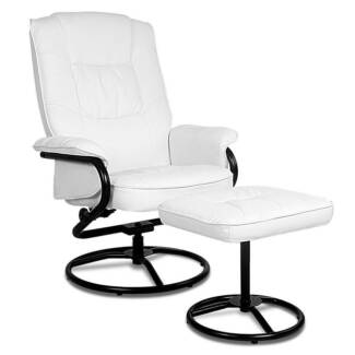 PU Leather Recliner Chair and Footrest[OCHAIR-90054-WH]