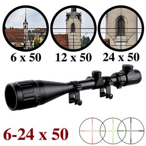 Professional 6-24X50 Sniper Hunt Rifle Scope with 11mm and 20mm Ring Mounts Set