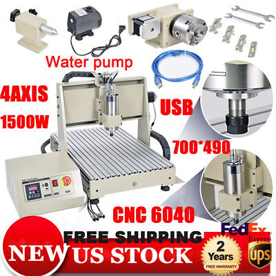 4axis Usb Cnc Router 6040 Engraver Machine Mill Metal Woodworking 3d Carve1500w