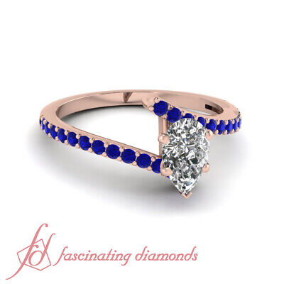 1.25 Ct 14K Rose Gold Engagement Ring Pear Shaped Diamond With Blue Sapphire GIA