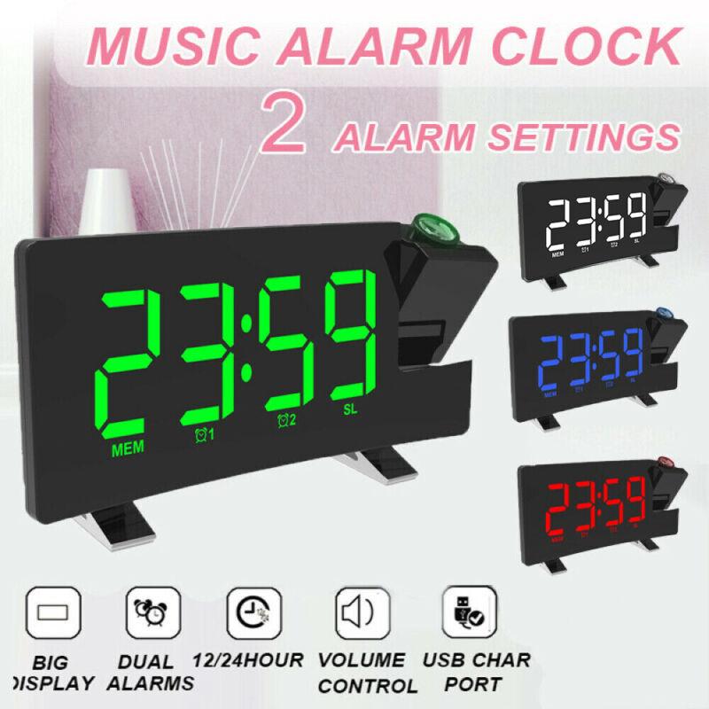 Digital LCD Snooze Alarm Clock Radio LED Color Display Wall/