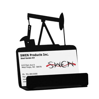 Swen Products Oil Well Rig Derrick Pump Jack Black Metal Business Card Holder