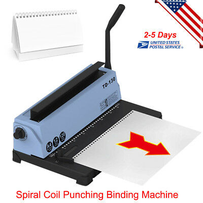 Professional 34 Square Hole Spiral Coil Punching Binding Metal Machine--usa Ship