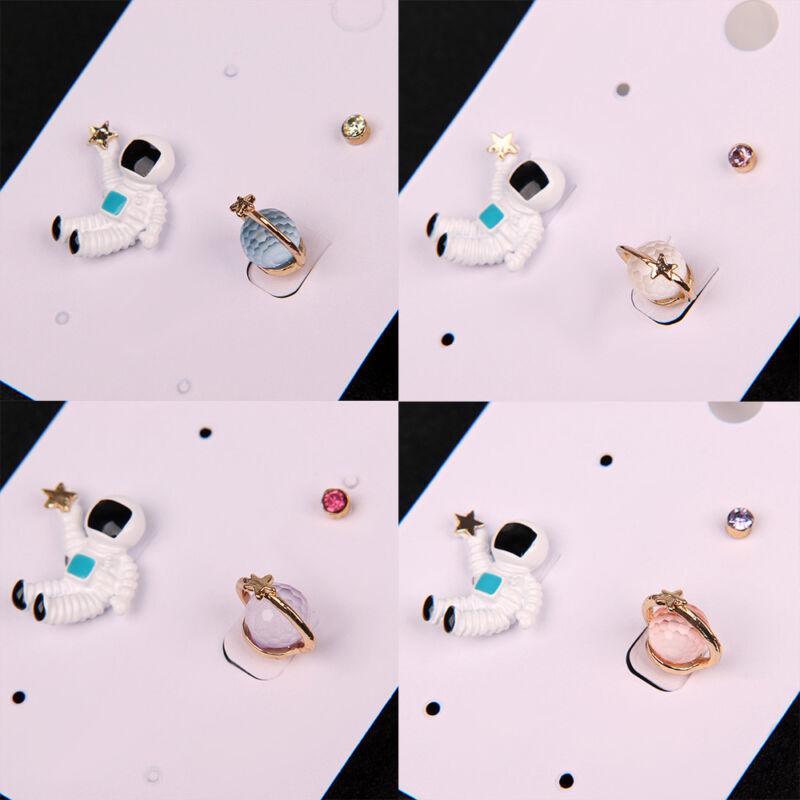 3 Set Asymmetric Earrings Astronaut Planet Star Ear Stud Tre