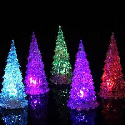 10Pcs Colorful LED Color Changing Crystal Christmas Tree Shop Home Holiday