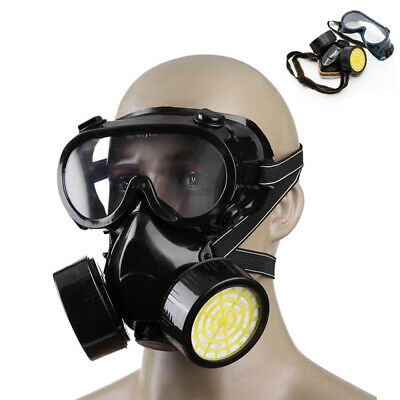 Full Face Gas Mask Painting Spraying Chemical Respirator Goggles W Dual Filters