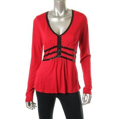 Cable & Gauge Red Jersey Embellished Long Sleeves Pullover Top - New ()