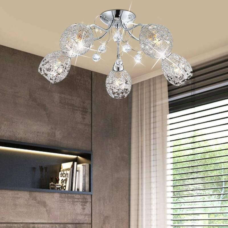 LED Deckenleuchte Chrom Lampe Kristall Design Beleuchtung Wohn Schlaf Zimmer