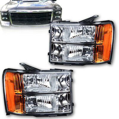 Headlights Assembly Replacement for 2007-2013 GMC Sierra Pickup Chrome Headlamps