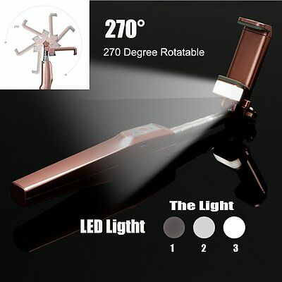 Extendable Bluetooth Shutter Selfie Stick Monopod LED Light For iPhone Samsung