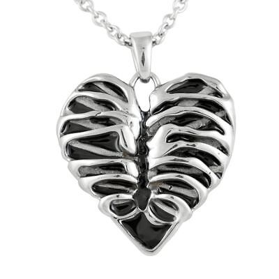 Heart Rib Cage Necklace Skeleton Bone Pendant StainlessSteel Jewelry By Controse