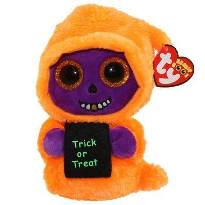 TY Beanie Boos - SKELTON Orange/Purple Reaper Halloween 6