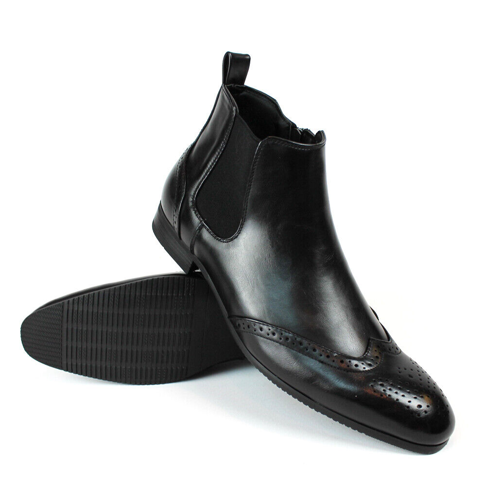 black wing tip toe leather mens ankle