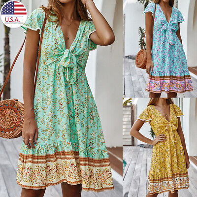 Women V-neck Summer Casual Mini Floral Printed Dress Hawaii Boho Party Holiday