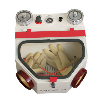 Us Dental Double Pen Sandblaster Dental Lab Tool Twin-pen Sand Blaster With Lamp