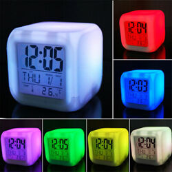 7 Color Changing Digital Glowing LED Alarm Clock Thermometer Night Light Bedroom