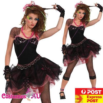 Ladies Madonna Costume Wild Child Pop Diva 80s 1980s Fancy Dress Up Party Rock