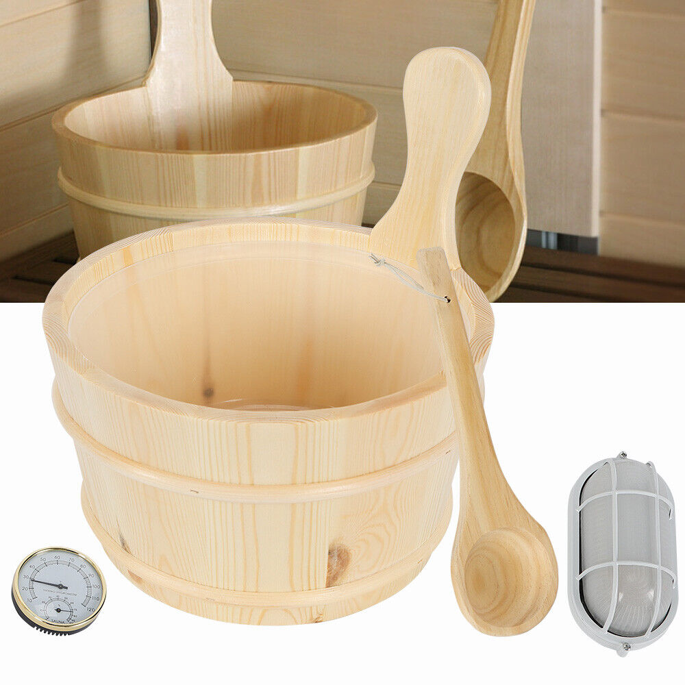 Sauna Wooden Bucket Pail Ladle Dipper With Hourglass Combined Set Room Accessory