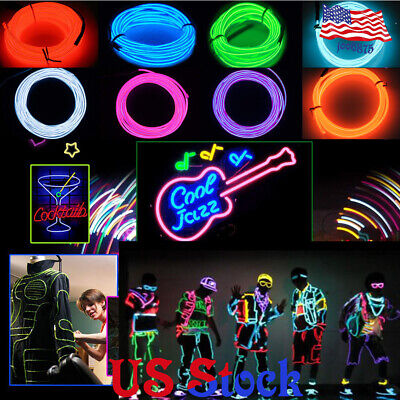 Parties Halloween Portable EL Wire Neon Lights Blacklight Run DIY Decor 10colors](Diy Halloween Decoration)