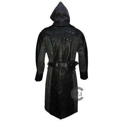 Mens Assasin Creed Jacob Frye Syndicate Black Leather Wool Halloween Trench Coat