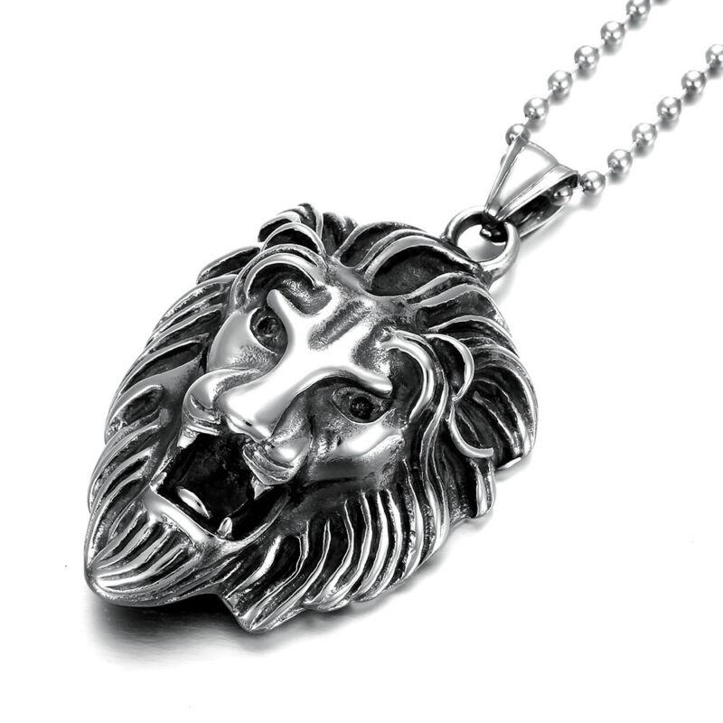 6 Pcs/Lot Stainless Steel Men Boy Lion Head Pendants Chain Necklaces Wholesale