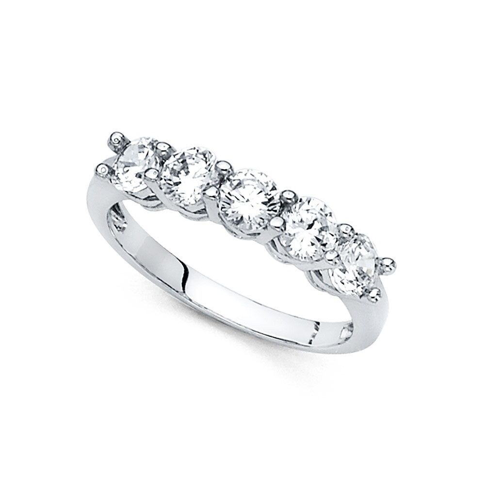 It is just an image of Details about 44k Yellow OR White Gold Five Stone CZ Wedding Band Anniversary Round 44 CZ Ring