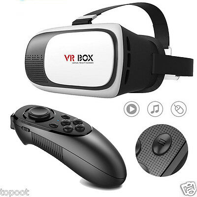 VR BOX Essential Reality 3D Glasses Games BT Remote Control For Smartphone