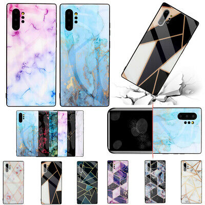 For Samsung Note10+S10e A50 Marble Pattern Glass Shockproof TPU Phone Case Cover