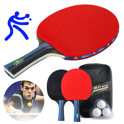 2 Professional Table Tennis Racket Paddle Ping Pong Bat+ 3 Balls Bag Set UK K6H3